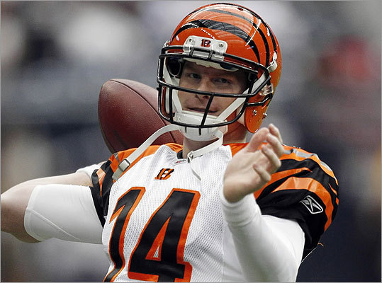 Texans 31, Bengals 10 Bengals rookie quarterback Andy Dalton prepared for his first NFL playoff game. The 9-7 Bengals were back in the playoffs for the first time in three seasons.