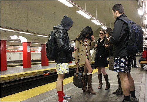 This group was looking for something to do this weekend and found out about the no-pants ride. They waited at Downtown Crossing for a train to Harvard.