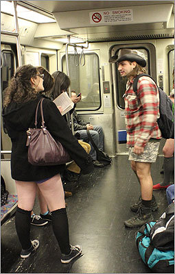 Once on the trains, some of the pantless chose to stand.