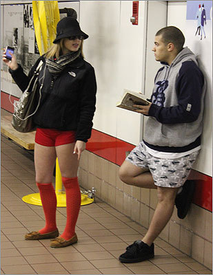 Kerri Beckwith of Haverhill and Frank Oliveira of Methuen were both first-time participants in the pantless ride. 'They always say no shirt, no shoes,' Beckwith said, 'but they never say anything about no pants.'