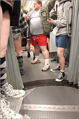 Toward the end of the afternoon of riding, pantless passengers headed toward the Symphony stop on the Green Line.