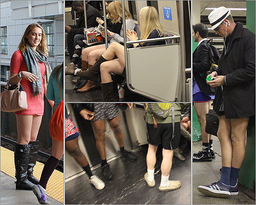 They came, they stripped, they rode the T. A group of more than 250 people became pantless passengers on the MBTA on Sunday afternoon, taking off from South Station and making a circuit to Harvard Station and back to downtown Boston.