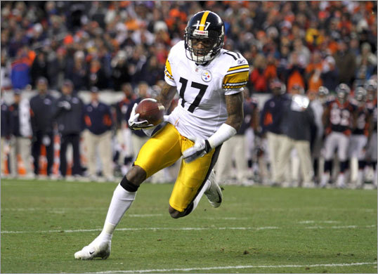 Broncos 29, Steelers 23 (OT) Steelers wide receiver Mike Wallace ran for a touchdown in the third quarter.