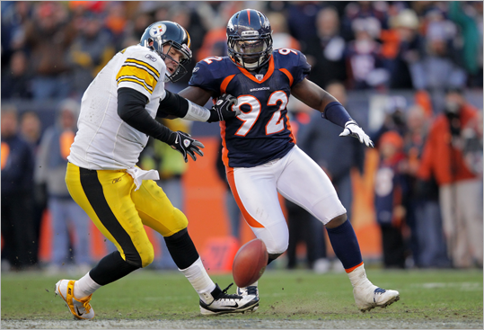 Elvis Dumervil, DE An unusually small lineman (5-foot-11, 260 pounds), Dumervil had 9.5 sacks in 2011 after leading the league with 17 in 2009. He missed the 2010 season due to a torn pectoral muscle, and has been with the Broncos since 2006 when they drafted him in the fourth round. He had perhaps the hardest shot on Patriots quarterback Tom Brady all season when he leveled him in Denver Dec. 18.
