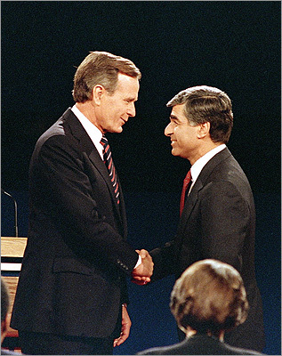 Michael Dukakis The former Massachusetts governor and Democratic presidential nominee lives in Brookline. Dukakis was part of group of local citizens who actively participated in the governance of the town which continues today. In this Oct. 13, 1988, file photo, Dukakis shook hands with Vice President George Bush at one their debates during the presidential election campaign.