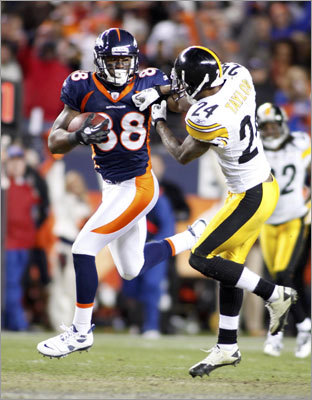Demaryius Thomas, WR The Broncos selected Thomas three picks before they drafted Tim Tebow in the first round of the 2010 draft. The pick came to Denver in a trade with the Patriots. Thomas was Tebow's primary target in Sunday's win against the Steelers, catching the 80-yard game-winning touchdown pass in overtime. Thomas collected 204 yards in the wild-card game and 551 for the season.