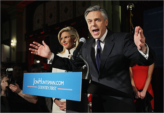 Republican presidential candidate, former Utah Gov. Jon Huntsman spoke at his primary night rally as his wife Mary Kaye Huntsman looked on at the The Black Brimmer restaurant on Tuesday night. According to early results, Huntsman, who skipped the Iowa caucuses to campaign in New Hampshire, finished third behind Romney and U.S. Rep. Ron Paul (R-TX) in the first in the nation primary election.