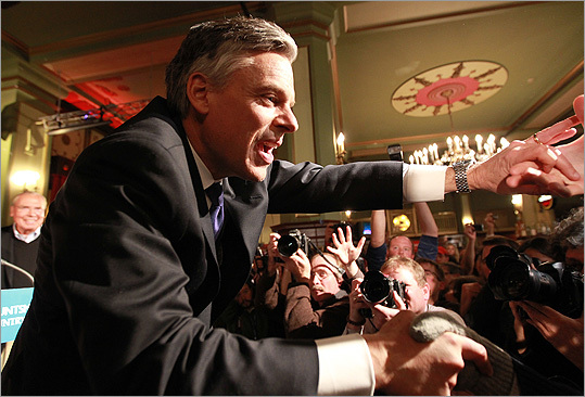 """I'd say third place is a ticket to ride ... Hello South Carolina!"" said Huntsman to his supporters at his rally Tuesday night."