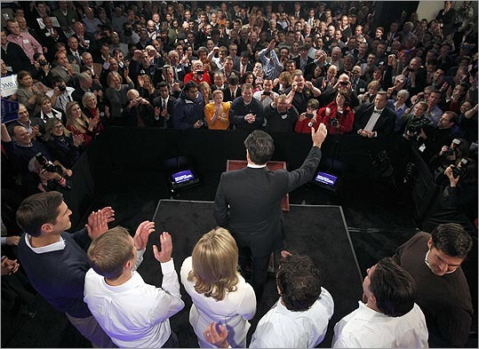Mitt Romney waved to supporters during his primary night victory party at Southern New Hampshire University in Manchester, N.H., on Jan. 10.