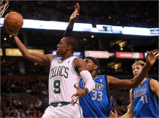 Point guard Rajon Rondo and the Celtics took on center Brendan Haywood and the defending NBA champion Dallas Mavericks at TD Garden. Rondo scored two of his 24 points on a first-half layup, but the Celtics fell 90-85 and dropped to 4-5 on the season.