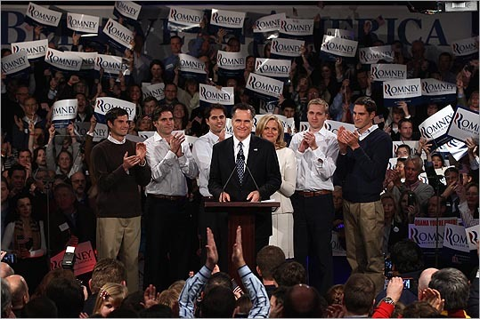 Mitt Romney spoke at his primary night victory rally with members of his family, from left, Matt, Tagg, Craig, wife Ann, Ben, and Josh Romney.