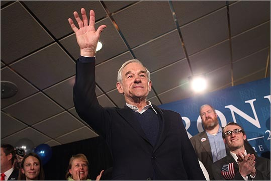 Ron Paul waved to supporters after speaking at his primary night campaign rally on Jan. 10 in Manchester, N.H. Paul finished second behind Mitt Romney.