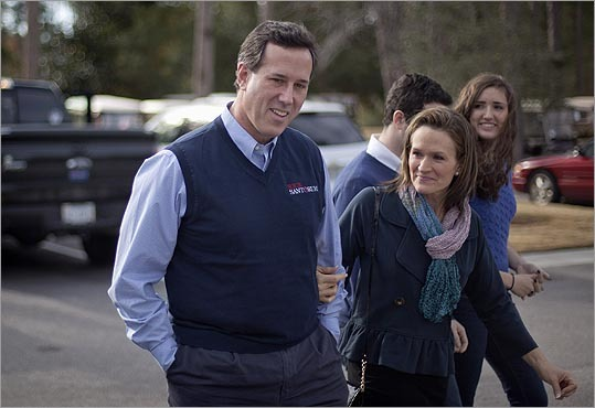 Rick Santorum walked into the meeting with his wife, son Daniel, 16, and daughter Sarah, 14.