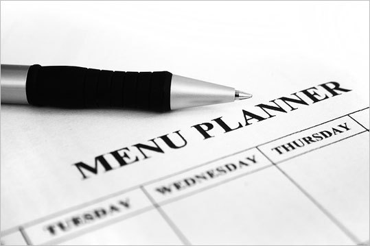 Plan your meals Jot down a week's worth of dinner ideas before you head to the grocery store. This tried-and-true practice discourages impulse-buying, helps you plan cheaper meals around what's on sale or in season, and keeps you out of the fast-food drive-through lane. A modern twist on menu planning: Subscribe to a service like SavingDinner.com or e-Mealz.com . For a small fee you'll get a weekly meal plan online or by e-mail, along with a shopping list. Some services offer kosher, gluten-free, and low-fat meal options.
