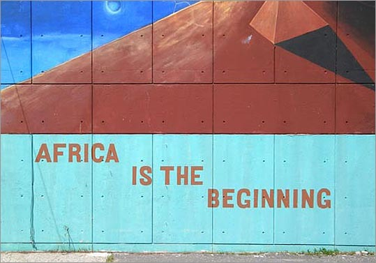 Murals cover many walls around the city of Boston. Have you ever walked by one and wondered about the history behind it? Local resident Anulfo G. Baez documents the murals and has written about their history for the Boston Society of Architects. Take a look at some of his favorite art around the city. Pictured is 'Africa is the Beginning'(1969) by Gary Rickson, located on 285 Martin Luther King Boulevard, Boston, as seen from Warren Street in Roxbury. For more photos, visit Baez's Tumblr site, Evolving Critic .