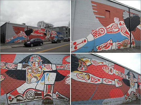 'The Gods of the Taino People,' Perkins Street (behind former Hi-Lo Foods), Jamaica Plain. By Rafael Rivera Garcia with Jose Ramos, Jose Alicea, John Montero. Restored in 2003 by the Mayor's Mural Crew directed by Heidi Schork.