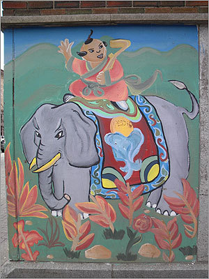 4 Chinese Folk Tales, by Boston Youth Fund Mural Crew, Surface Road, Chinatown.