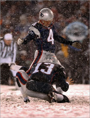1. Patriots 16, Raiders 13 (OT) AFC Divisional, January 19, 2002 Because it was a beautiful sendoff for Foxboro Stadium. Because it was a football game played in a snow globe. Because the Tuck Rule was the correct interpretation of a silly rule. Because East Boston's Jermaine Wiggins caught 10 passes in the snow, as if he'd played in the stuff his entire childhood. Because J.R. Redmond was everything Kevin Faulk would eventually be, Tom Brady earned his first postseason pelt, and Adam Vinatieri was good, so good, from 45 to tie and 23 to win. Because it's when a decade of greatness officially began.