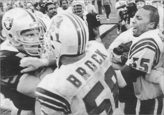 9. Patriots 27, Raiders 20 AFC Divisional, January 5, 1986 The Patriots, who entered the postseason as the fifth and final seed in the AFC, began their improbable journey to Super Bowl XX with a 26-14 victory over the Jets in the wild-card round, their first of three straight victories on the road. The Patriots built an early lead behind the passing of Tony Eason (no, really) and the running of Craig James (a much more admirable ballcarrier than broadcaster). The Raiders fought back to lead 20-17 at halftime, but the Patriots scored the winning touchdown and final points in the third quarter on special teams ace Jim Bowman's recovery of a fumbled punt in the end zone. The detail fans probably remember best from this game, however, is Raiders linebacker Matt Millen slugging Pat Sullivan on the field when the Patriots executive talked trash to him and Howie Long.