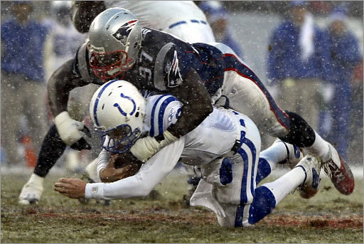 6. Patriots 24, Colts 14 AFC Championship, January 18, 2004 On a frosty day in Foxborough, the Patriots tormented Peyton Manning and the Colts' vaunted offense, which had scored 41 points against the Broncos the previous week in the comfort of their dome home. Manning has joked that he will make Ty Law's Hall of Fame introduction should the time come, since he'd have helped him get there, and this game stands as evidence. Law had three of the Patriots' four interceptions, while the Patriots' defensive backs frustrated the Colts receivers with their physical play. Manning was also sacked four times – three by Jarvis Green – and Adam Vinatieri booted five field goals.