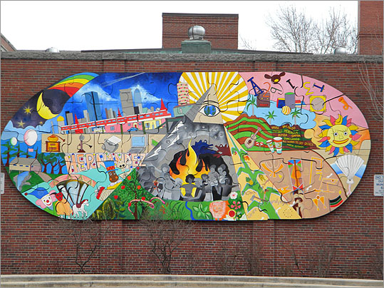 Jigsaw mural By Roberto Chao and students, 2001. Escuela Rafael Hernandez, 61 School St., Roxbury.