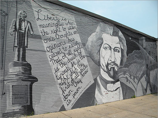 Frederick Douglass, corner of Hammond and Tremont streets, Roxbury. By the Mayor's Mural Crew under the artistic direction of Heidi Schork, 2003.