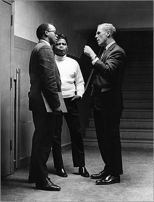 Under Mr. White, Boston was a laboratory for urban policy experiments early in his administration. Perhaps his greatest legacy was the young, idealistic talent Mr. White attracted to City Hall, which became an incubator for dozens of successful careers in politics, government, and business. Left: Thomas Atkins (left) and Kevin White (right) spoke with entertainer James Brown at the Boston Garden April 5, 1968. It was one day after the assassination of Dr. Martin Luther King Jr. and Atkins, Brown and White were credited with keeping the city quiet in the aftermath.