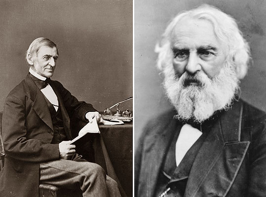 Poe lavished scorn on Transcendentalists such as Ralph Waldo Emerson (left) and Henry David Thoreau, and often accused Henry Wadsworth Longfellow (right) of plagiarism. His resentment deepened after a disastrous reading at the Boston Lyceum in 1845 drew withering reviews.