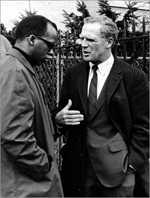 From 1968 to 1984, Mr. White was chief executive of a fast-changing metropolis, which had emerged from decades of economic stagnation and insularity with an explosion of growth and construction downtown. But social change tore at the city's fabric. Racial tension and violence during court-ordered school desegregation in the mid-1970s stained Boston's image, perhaps indelibly. Left:City councilor Tom Atkins and then-mayor Kevin White were photographed outside on March 27, 1968.