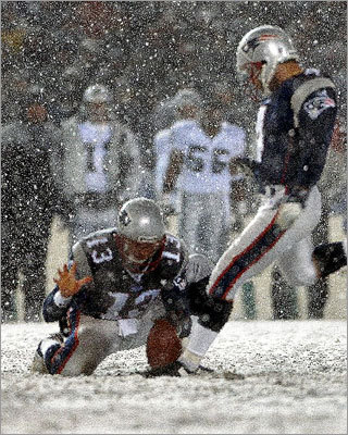 "After the tuck rule gave the Patriots the ball back with less than two minutes left, New England advanced to the 28 yard line. Adam Vinatieri was brought on to attempt a tying field goal with 27 seconds left, and he connected from 45 yards. ""We didn't have any choice. We had a lot of confidence in Adam to make it,"" Patriots coach Bill Belichick said."