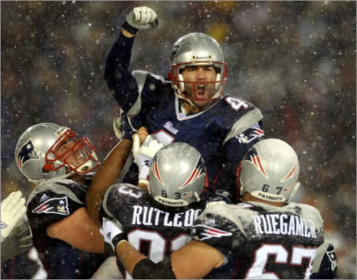 The victory sent the Patriots to the AFC Championship game, where they beat the Pittsburgh Steelers to advance to the Super Bowl, where they beat the St. Louis Rams.