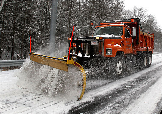A weekend snowstorm blanketed Massachusetts, with some parts of the state expected to get up to six inches of snow. The storm also hit other parts of the Northeast, where there were treacherous conditions and flight delays. Click through to see scenes from the storm Snowplows were used to clear snow from Rt. 128 in Manchester-by-the-Sea.