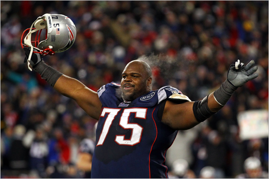Vince Wilfork celebrated after the Patriots defeated the Ravens, 23-20, at Gillette Stadium.