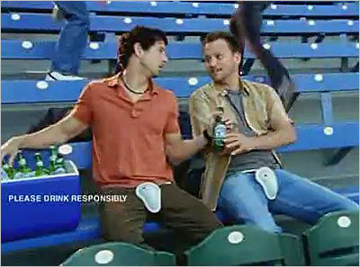 Rolling Rock - Foul Ball A foul ball causes a lot of pain at the baseball game pictured in this ad. However, this commercial was probably banned for the not-so-subtle genital-like imagery that appears in the spot's final seconds.