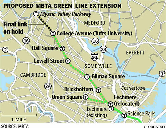 "The long-awaited Green Line Extension is on track to move ahead, with the final design of the $1.1 billion public transit project due to be completed in March, and the first phase of construction, including the widening of rail road bridges in Medford and Somerville, to start by the end of this year, MBTA project officials said at a community meeting in Somerville. ""Our goal is get into construction this calendar year,"" said Michael J. McBride, the Green Line Extension program manager."