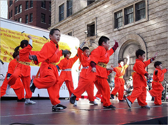 Students from Boston Shaolin Kung Fu Center showed off their martial arts skills.
