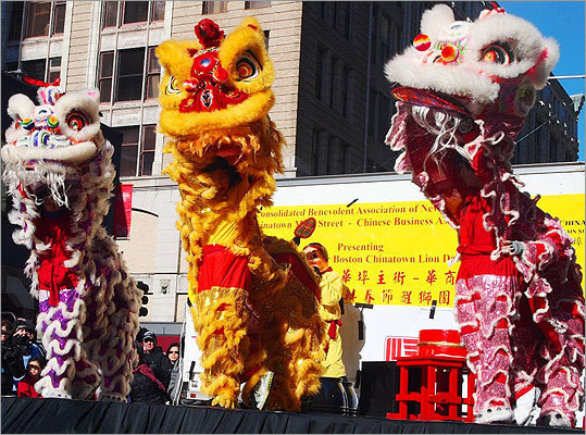 These three lions featured performers from Gund Kwok, the only all-female lion and dragon dance troupe in the United States.