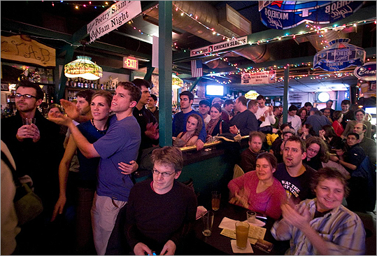 Promise: No council meetings opposite Chicken Slacks at Cantab #HowCambridgeShouldPickAMayor — Jon Keller (@kelleratlarge) January 26, 2012 A crowd is pictured watching the band Town Mountain from Asheville, N.C., perform at a bluegrass pickin' party at the Cantab Lounge in Cambridge.
