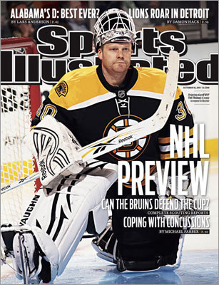 Solid in net Bruins goalie Tim Thomas was featured on the magazine's Oct. 10, 2011 NHL preview cover. The Bruins, of course, won the Stanley Cup the previous season.
