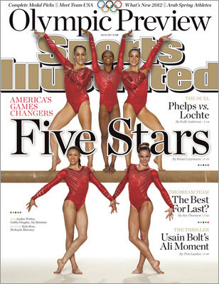 US women's gymnastics The US women's gymnastics team, which includes Aly Raisman of Needham (top right), was featured on the cover of the magazine's 2012 London Olympics preview.