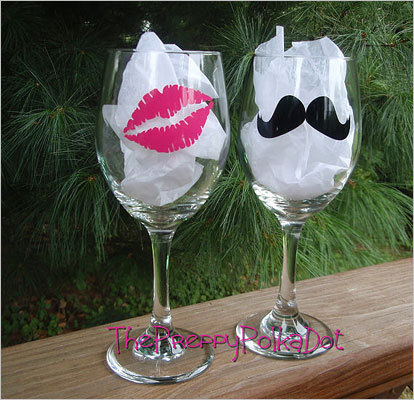 Mustache & kiss wine glass set Price: $25.50 His and her matching anythings are so yesterday. This glass set will show off your quirky personality better.