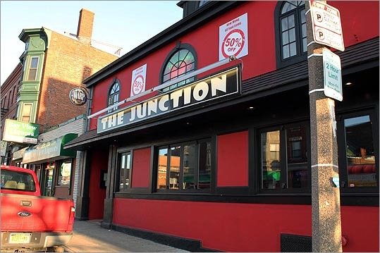 The Junction on Dorchester Street also got in the spirit, freshly painted in Patriots red. Although the bar doesn't have as many TVs as other establishments in the area, their unique menu is sure to please the stomach of any Pats fan.