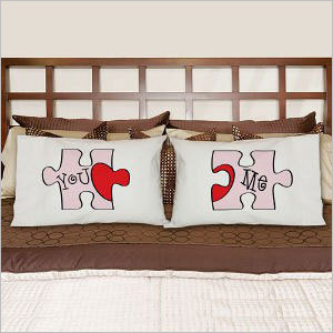 You and me puzzle pillowcase set Price: $19.98 Display your love with this pillowcase set that shows just how well you and your mate fit together.