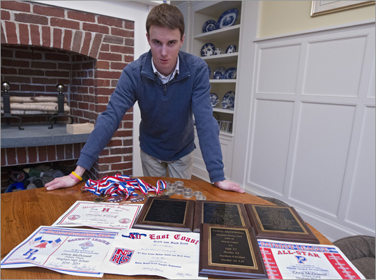 Chris McDowell entered his freshman year at Hingham High School uncertain what sport he would choose. He settled on track and field because he had friends who were doing the same. The decision has served him well. As of the end of last month, the Hingham junior was ranked one of the top-10 best high-jumpers among high schoolers in the country. Read the complete article here. McDowell is shown here with his numerous medals and certificates at his home on Monday, Jan. 23.