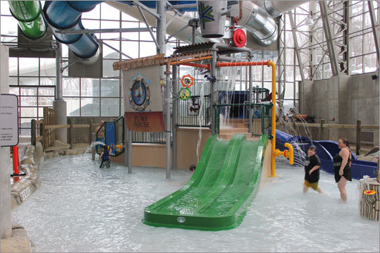 The Pump House isn't only for teenagers and adults. Young children have their own play area, where they can hurl down scaled-down water slides.