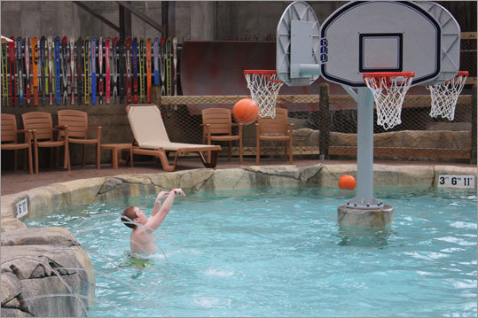 Visitors can also test their shot, or play a little pool hoop with three basketball hoops set up in one pool.
