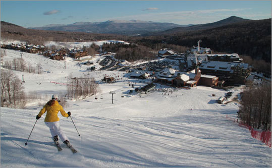 More skiing - Spruce Peak is Stowe's bonus ski area, connected from Mt. Mansfield via the Over Easy gondola; this sunny, less-steep side of Stowe offers a dozen more enticing trails served by two overlapping high speed quads.