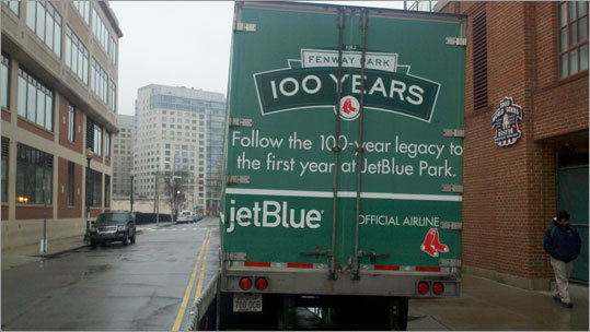 On the backside of the truck, the Red Sox are playing up their historic 100th year of operation in 2012.