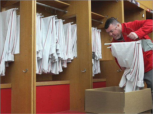 Inside Fenway, a team official packed up a box of Red Sox uniforms for the long trek to Florida.