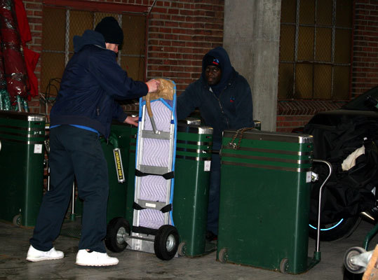 Even the turnstiles were loaded into the truck at Fenway Park on Saturday.
